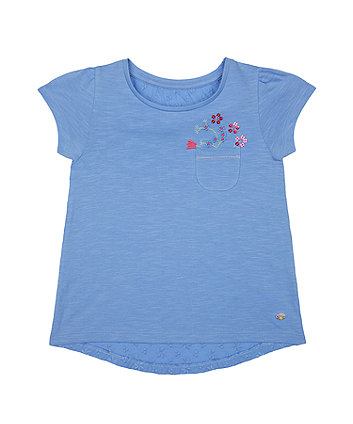 Mothercare Blue Broderie Sequin T-Shirt