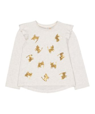 Mothercare Peace And Art Grey Cat Long Sleeve T-Shirt