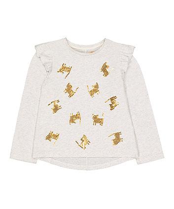 Mothercare Grey Sequin Cat T-Shirt