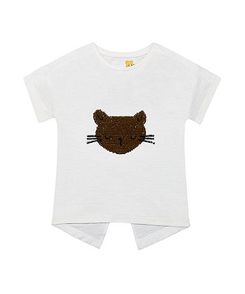 Mothercare Sequin Cat Face T-Shirt