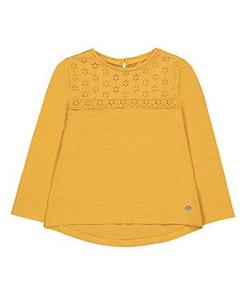 Mothercare Mustard Broderie T-Shirt