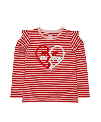 Red Stripe Best Friend Heart T-Shirt