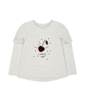 Mothercare Soft Blush Marl Cherry Sequin Long Sleeve T-Shirt