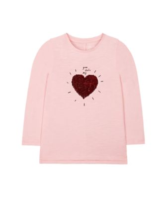 Mothercare Soft Blush Pink Heart Sequin Long Sleeve T-Shirt