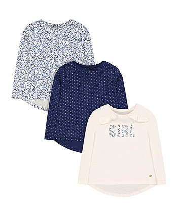 Blue Floral T-Shirts - 3 Pack