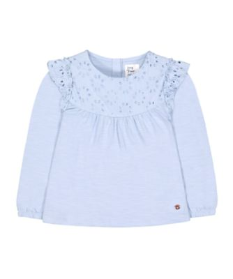 Mothercare Prairie Blue Crochet Panelled Long Sleeve Top