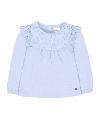 Mothercare Prairie Blue Crochet Panelled Long Sleeve Top