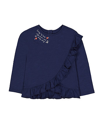 Mothercare Navy Floral Wrap Frill T-Shirt