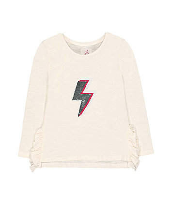 Cream Reversible Sequin Lightning Bolt T-Shirt