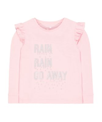 Mothercare Pretty Mash Up Slogan Sequins Frill Long Sleeve T-Shirt