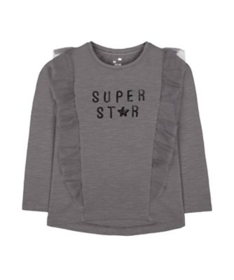 Mothercare Pretty Mash Up Charcoal Frill Long Sleeve T-Shirt