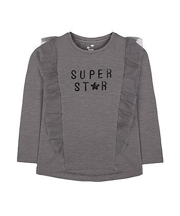 Charcoal Mesh Frill Super Star T-Shirt