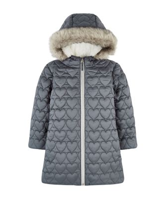 Mothercare Outerwear Quilted Silver Heart Padded Coat