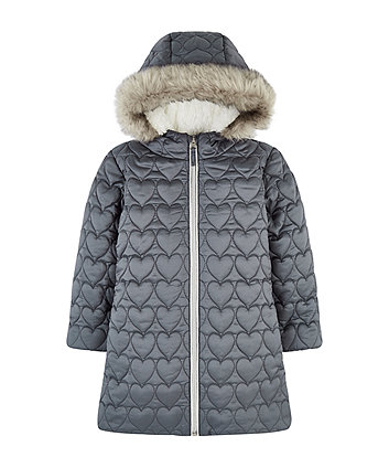 Quilted Heart Coat With Borg Lining