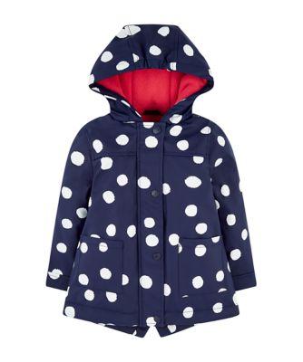 Mothercare Outerwear Large Spot PU Mac (Fleece Lined)