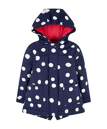 Mothercare Navy Spot Mac With Fleece Lining