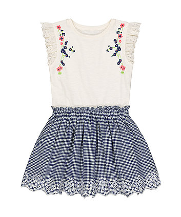 Mothercare Floral Gingham Chambray Twofer Dress