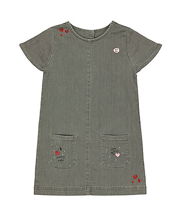 Mothercare Grey Denim Cherry And Heart Dress