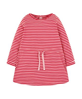 Mothercare Soft Blush Red Striped Heavy Jersey Long Sleeve Dress