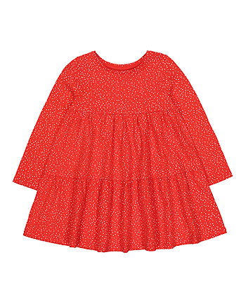 Red And Pink Spot Tiered Dress
