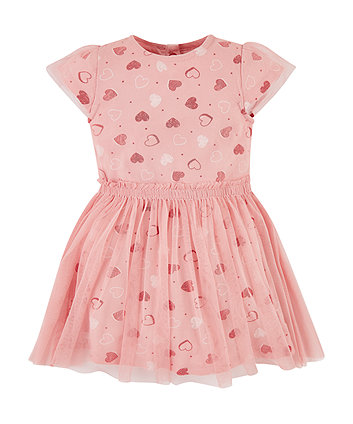 Mothercare Mesh Layer Heart Twofer Dress