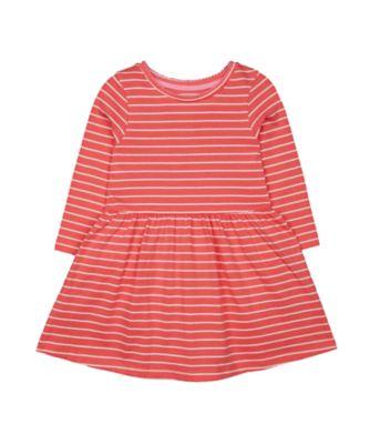 Mothercare Promo Pink Stripe Waist Long Sleeve Dress