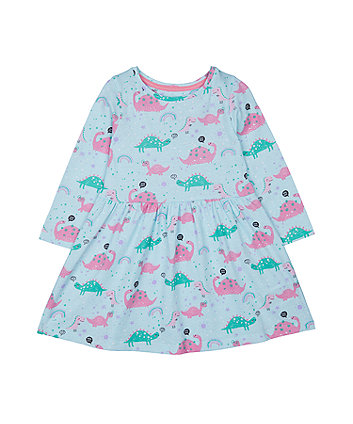 Mothercare Turquoise Dinosaur Waisted Dress