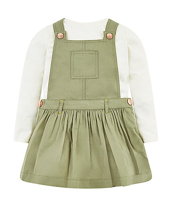 Khaki Pinny And Cream T-Shirt Set