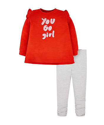 Mothercare Red You Go Girl Sweat Top And Stripe Leggings Set