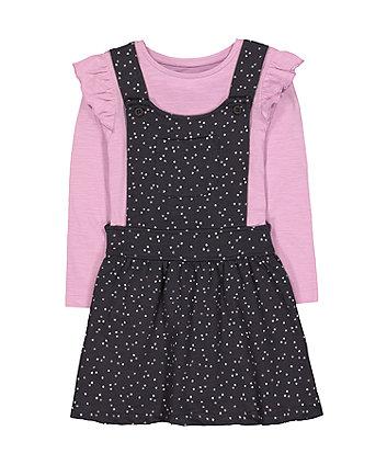 Charcoal Star Pinny And Lilac T-Shirt Set