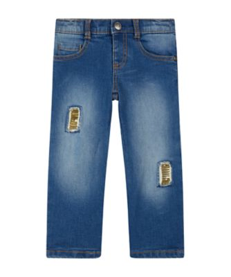 Mothercare Peace And Art Blue Sequin Patch Jeans