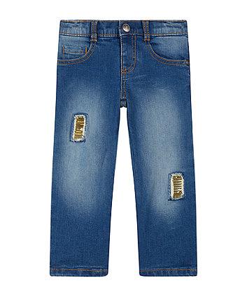 Blue Sequin Patch Jeans