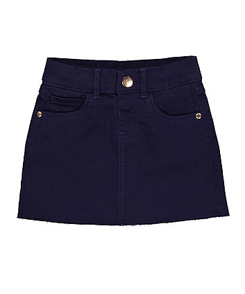 Navy Frayed Edge Skirt