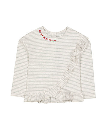 Grey Stripe All You Need Is Love Wrap Frill T-Shirt