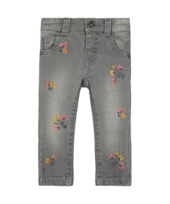Mothercare Pastel Plains Grey Embroidered Floral Jeans