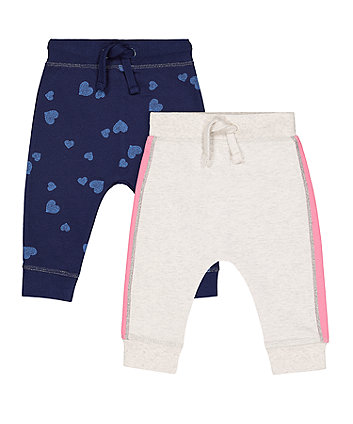 Mothercare Navy Heart And Grey Stripe Joggers - 2 Pack