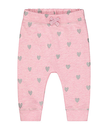 Mothercare Pink Glitter Heart Joggers