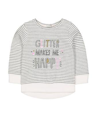 Mothercare Pretty Mash Up Stripe Glitter Makes Me Happy Sweat Top