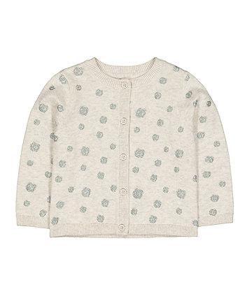 Mothercare Grey Glitter Pinspot Knit Cardigan