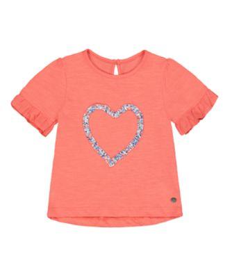 Mothercare Flower Market Coral Heart Short Sleeve T-Shirt