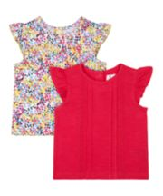 Mothercare Floral And Pink Pintuck Vests - 2 Pack