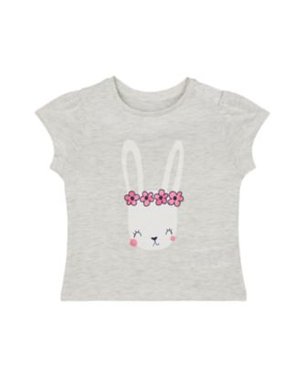 Mothercare Peace And Art Grey Marl Floral Bunny T-Shirt