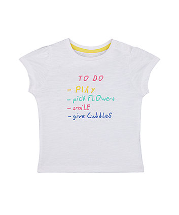 Mothercare White To Do List T-Shirt