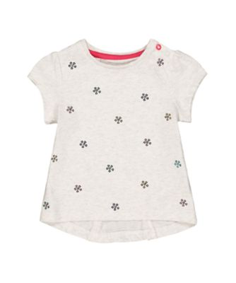 Mothercare Peace And Art Grey Sequin Flower T-Shirt