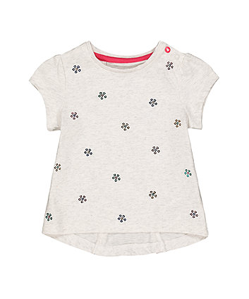 Mothercare Grey Sequin Flower T-Shirt
