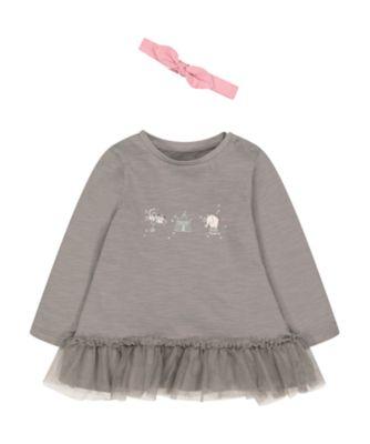 Mothercare Pretty Mash Up Grey Peplem Hem Circus Long Sleeve T-Shirt And Pink Headband Set