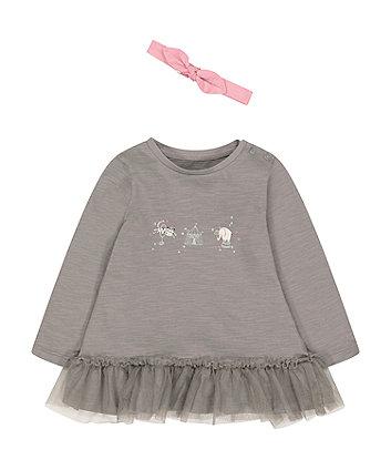 Mothercare Grey Peplem Hem Circus T-Shirt And Pink Headband Set