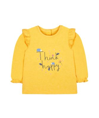 Mothercare Pastel Plains Yellow Think Happy Hedgehog Long Sleeve T-Shirt