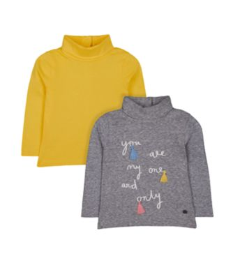 Mothercare Pastel Plains Grey One And Only And Mustard Rib Roll-Neck Jumpers - 2 Pack