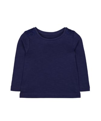 Mothercare Tee Statement Navy Crochet Long Sleeve T-Shirt